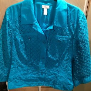 Chico's Brand New Woman's Teal Blue Button Jacket